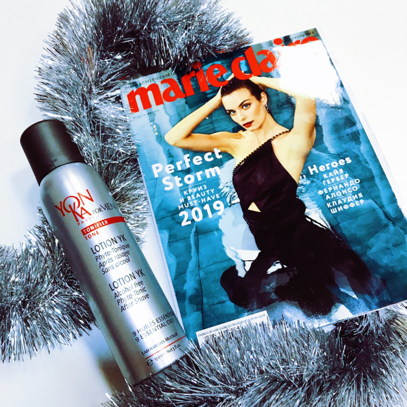 Тонизирующий лосьон Lotion YK на страницах декабрьского номера Marie Claire